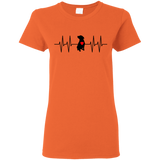 HEARTBEAT - Black/Red - Premium Preshrunk Ladies Pit Bull T-Shirt - Save Adopt Love Apparel