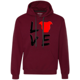 LOVE - Black/Red - Pit Bull Heavyweight Pullover Sweatshirt Hoodie - Save Adopt Love Apparel