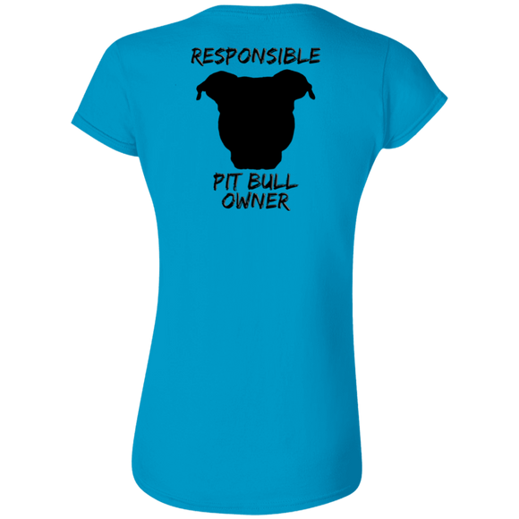 RESPONSIBLE - Back Art - Black - Premium Ladies Softstyle Pit Bull T-Shirt - Save Adopt Love Apparel