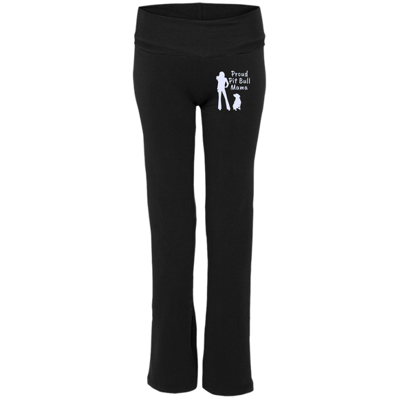 PROUD PIT BULL MAMA - Premium Embroidered Ladies' Pit Bull Yoga Pants - Save Adopt Love Apparel