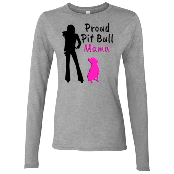 PROUD PIT BULL MAMA - Black/Pink - Premium Preshrunk Softstyle Ladies Pit Bull Long Sleeve T-Shirt - Save Adopt Love Apparel