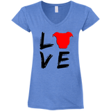 LOVE - Black/Red - Fitted Softstyle Premium Pit Bull V-Neck T-Shirt - Save Adopt Love Apparel