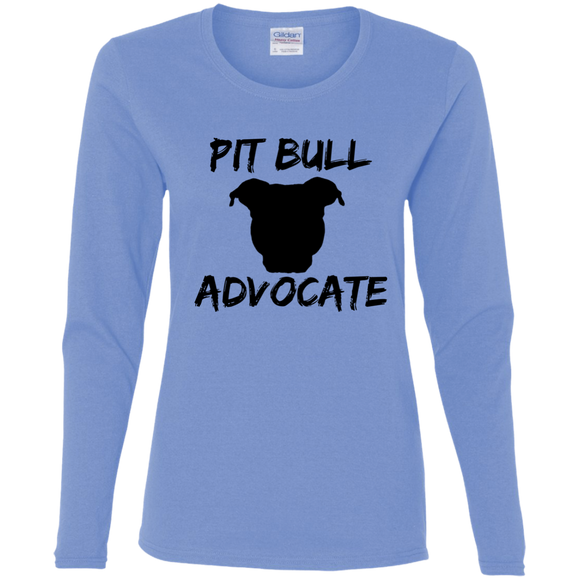 PIT BULL ADVOCATE - Solid Black - Pit Bull Ladies Long Sleeve T-Shirt - Save Adopt Love Apparel