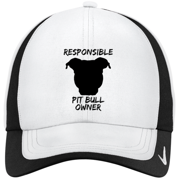 RESPONSIBLE PIT BULL OWNER - Black - Pit Bull NIKE Dri-FIT Colorblock Embroidered Cap Hat - Save Adopt Love Apparel