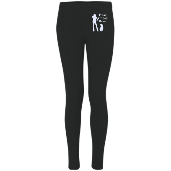 PROUD PIT BULL MAMA - Premium Embroidered Women's Pit Bull Leggings - Save Adopt Love Apparel
