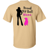 PROUD PIT BULL MAMA - Back Art - Black/Pink - Unisex Pit Bull T-Shirt - Save Adopt Love Apparel