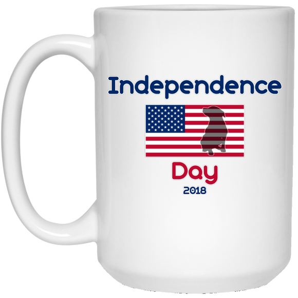 Independence Day 2018 15 oz. White Pit Bull Mug - Save Adopt Love Apparel