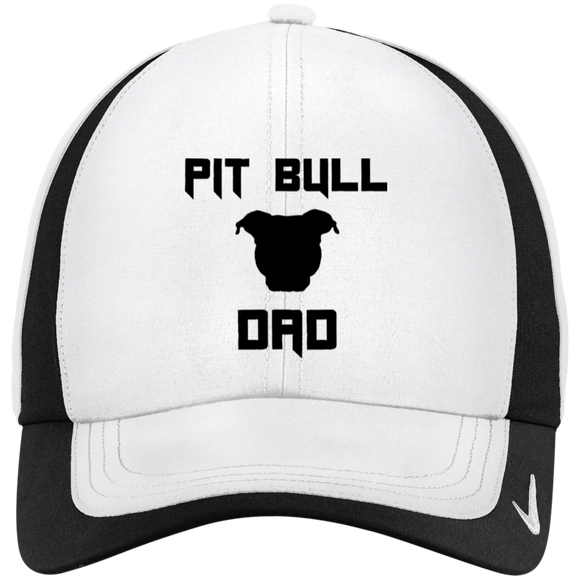 PIT BULL DAD - Black - Pit Bull NIKE Dri-FIT Colorblock Embroidered Cap Hat - Save Adopt Love Apparel