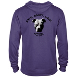 SAVE. ADOPT. LOVE. - Black - Back Art - Premium Preshrunk French Terry Blend Fleece Pit Bull Hoodie - Save Adopt Love Apparel