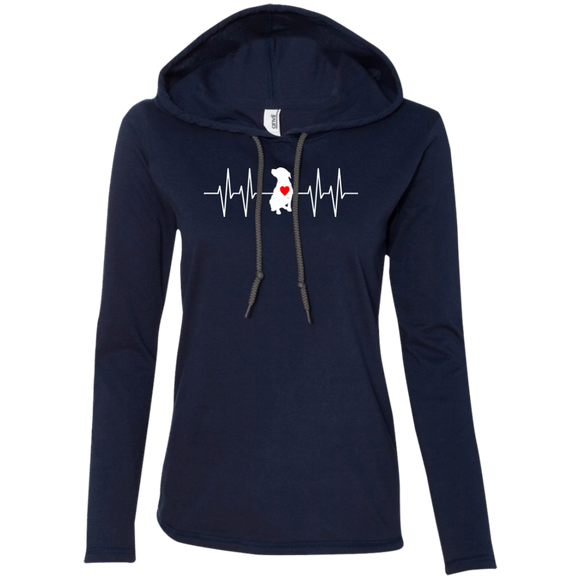 HEARTBEAT - White/Red - Premium Ladies Pit Bull Hoodie - Save Adopt Love Apparel