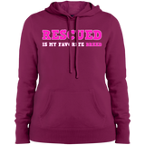 RESCUED IS MY FAVORITE BREED - Pink/White/Pink - Ladies Pullover Sweatshirt Hoodie - Save Adopt Love Apparel