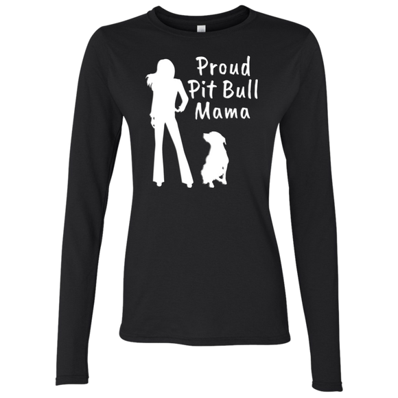 PROUD PIT BULL MAMA - White - Premium Preshrunk Softstyle Ladies Pit Bull Long Sleeve T-Shirt - Save Adopt Love Apparel