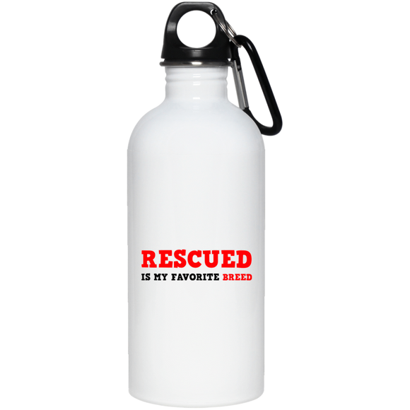 RESCUED IS MY FAVORITE BREED - Red/Black/Red - 20 oz. Eco-Friendly Stainless Steel Water Bottle - Save Adopt Love Apparel