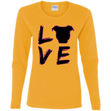 LOVE - Black/Pink - Pit Bull Ladies Long Sleeve T-Shirt - Save Adopt Love Apparel
