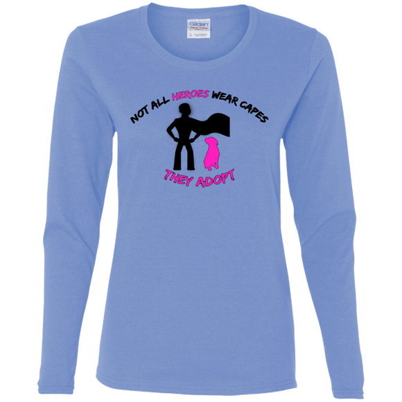 HEROES ADOPT- Black/Pink - Ladies Pit Bull Adoption Long Sleeve T-Shirt - Save Adopt Love Apparel