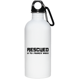 RESCUED IS MY FAVORITE BREED - Black -  20 oz. Eco-Friendly Stainless Steel Water Bottle - Save Adopt Love Apparel