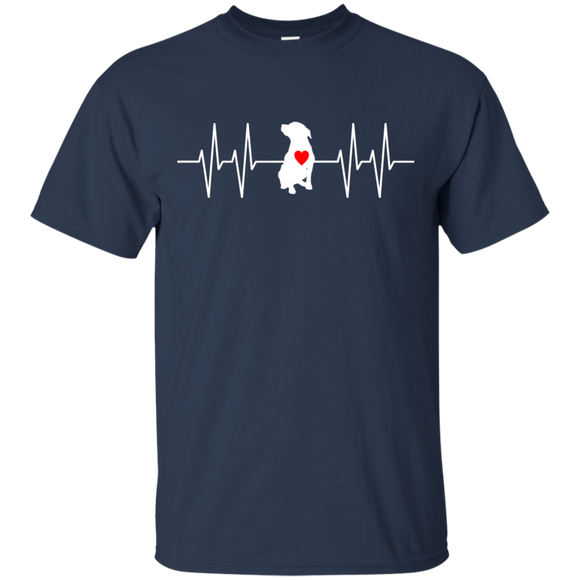 HEARTBEAT - White/Red - Unisex Pit Bull T-Shirt - Save Adopt Love Apparel