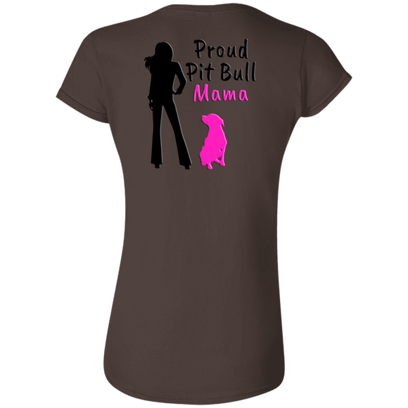 PROUD PIT BULL MAMA - Black/Pink - Back Art - Premium Softstyle Ladies Pit Bull T-Shirt - Save Adopt Love Apparel