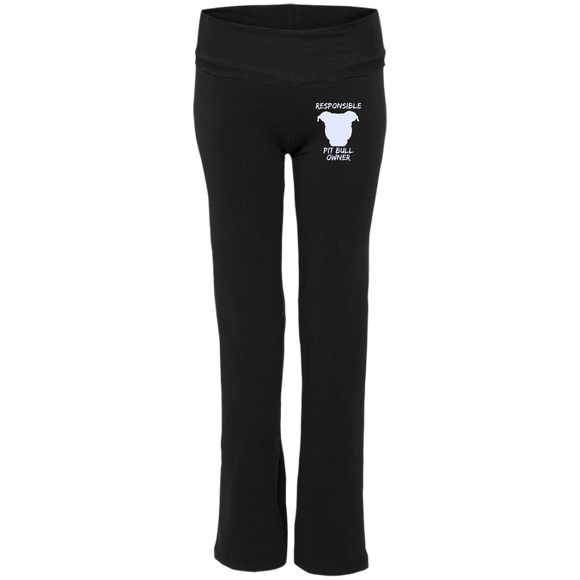 RESPONSIBLE PIT BULL OWNER - Premium Embroidered Ladies' Pit Bull Yoga Pants - Save Adopt Love Apparel