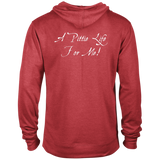 A PITTIE LIFE FOR ME - White - Back Art - Premium Preshrunk Fleece French Terry Blend Pit Bull Hoodie - Save Adopt Love Apparel