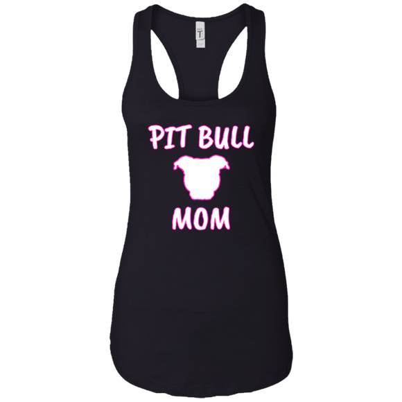 PIT BULL MOM - Pink/White - Premium Preshrunk Ladies Pit Bull Racerback Tank - Save Adopt Love Apparel