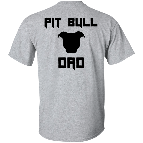 PIT BULL DAD - Black/BACK ART - Men's Pit Bull T-Shirt - Save Adopt Love Apparel