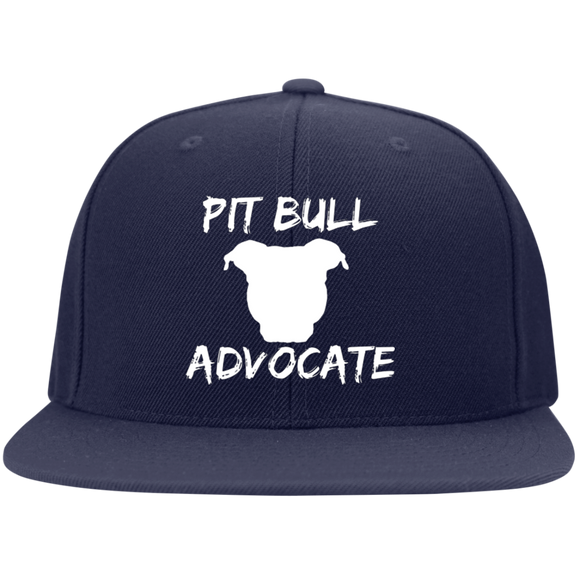 PIT BULL ADVOCATE - Solid White - Pit Bull Embroidered Snapback Hat - Save Adopt Love Apparel
