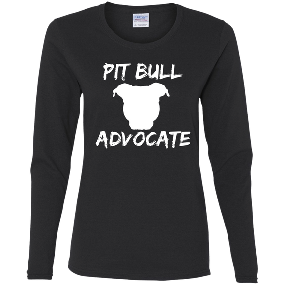 PIT BULL ADVOCATE - Solid White - Premium Preshrunk Ladies Pit Bull Long Sleeve T-Shirt - Save Adopt Love Apparel