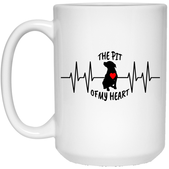 THE PIT OF THE HEART - White - 15 oz. Pit Bull Coffee Mug - Save Adopt Love Apparel
