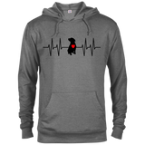 HEARTBEAT - Black/Red - Premium Preshrunk French Terry Blend Fleece Pit Bull Hoodie - Save Adopt Love Apparel