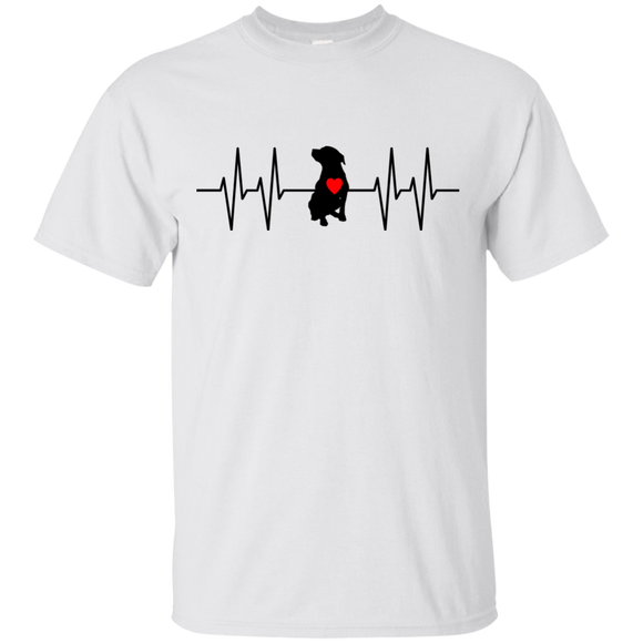 HEARTBEAT - Black/Red - Unisex Pit Bull T-Shirt - Save Adopt Love Apparel