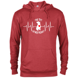 THE PIT OF MY HEART - White/Red - Premium Preshrunk Fleece French Terry Blend Pit Bull Hoodie - Save Adopt Love Apparel
