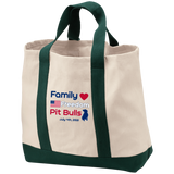 Family Freedom Pit Bulls Embroidered Port & Co. 2-Tone Shopping Tote - Save Adopt Love Apparel