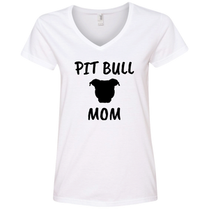 PIT BULL MOM - Black - Ladies' Pit Bull V-Neck T-Shirt - Save Adopt Love Apparel