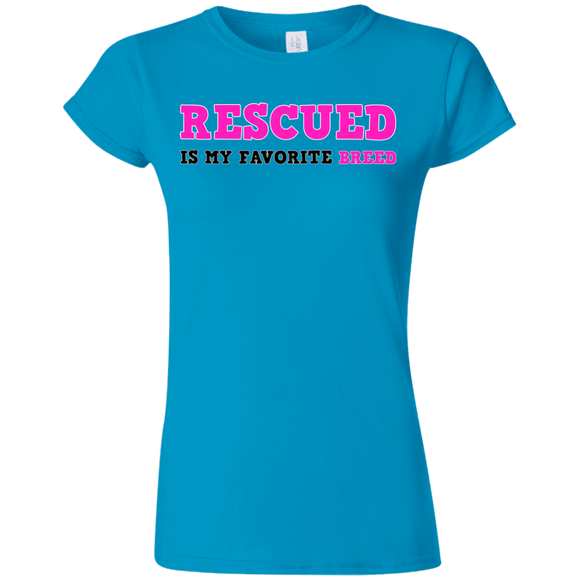 RESCUED IS MY FAVORITE BREED - Pink/Black/Pink- Premium Softstyle Ladies T-Shirt - Save Adopt Love Apparel