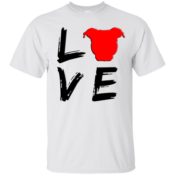 LOVE - Black/Red - Pit Bull Unisex T-Shirt - Save Adopt Love Apparel