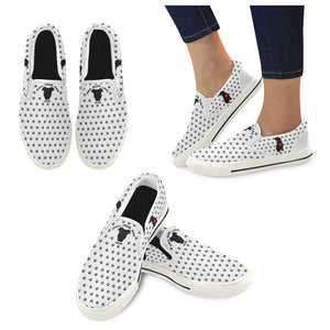 Women's Premium Pit Bull Heart Canvas Slip-on Shoes - Save Adopt Love Apparel