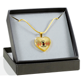 Exclusive Handcrafted Pit Bull Heart Premium Pendant Necklace Genuine 18k Gold or Silver - Save Adopt Love Apparel