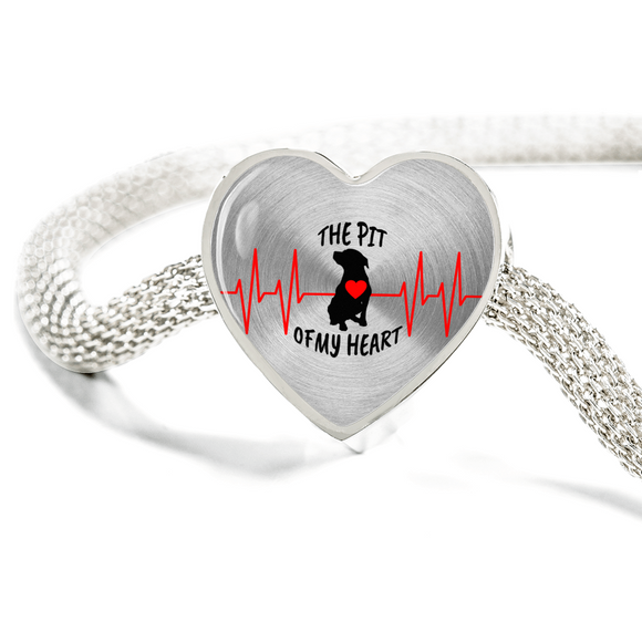 Exclusive Pit Bull Heart Charm Bracelet Stainless Steel Made In The U.S.A. - Save Adopt Love Apparel