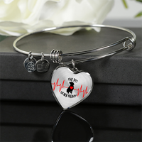Exclusive Handcrafted Pit Bull Heart Premium Pendant Bangle Genuine 18k Gold or Silver - Save Adopt Love Apparel