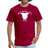 SAVE. ADOPT. LOVE. APPAREL - Unisex Pit Bull T-Shirt - dark red