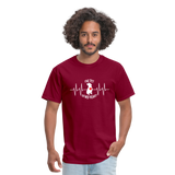 """THE PIT OF MY HEART"" Pit Bull Unisex T-Shirt - burgundy"