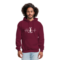 "THE ORIGINAL ""THE PIT OF MY HEART"" Unisex Pullover Pit Bull Hoodie - burgundy"