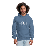 "THE ORIGINAL ""THE PIT OF MY HEART"" Unisex Pullover Pit Bull Hoodie - denim blue"