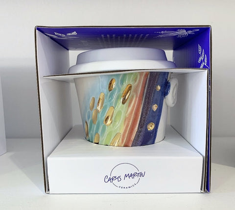 Rainbow earth cup with gold flecks, handmade pottery keep up for take away drinks