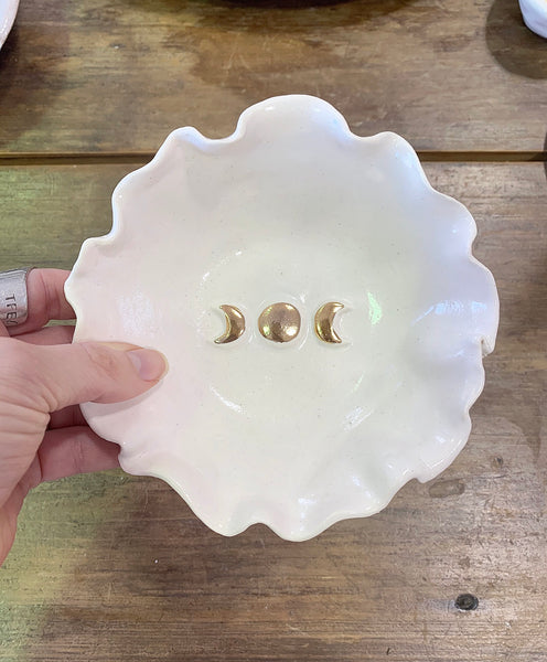 Triple Goddess Moon Trinket/Riutal Bowl with scallop edging