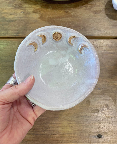 Moon Phase Trinket/Ritual Bowl in Natural with White/Gold