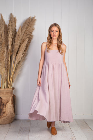 Delilah midi dress in lilac crepe linen, deep pockets and adjustable straps.