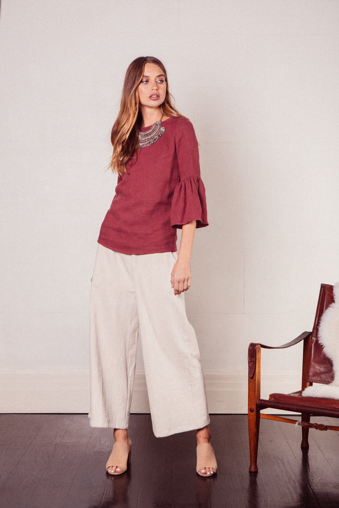 Sacred Linen Top in Wine with 3/4 length bell sleeve