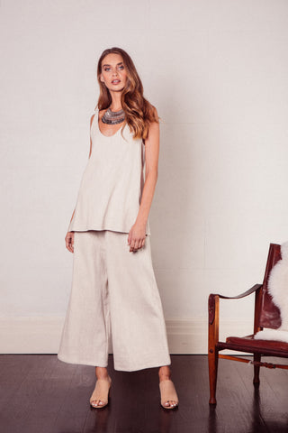 Echoe Lounge Textured Cotton Wide Leg Pants in Sand Beige